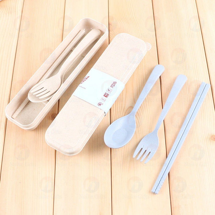 Factory Cheap Hot Wheat Straw Plate - Environmental protection non toxic portable tableware set travel packing wheat straw tableware set three – Naike