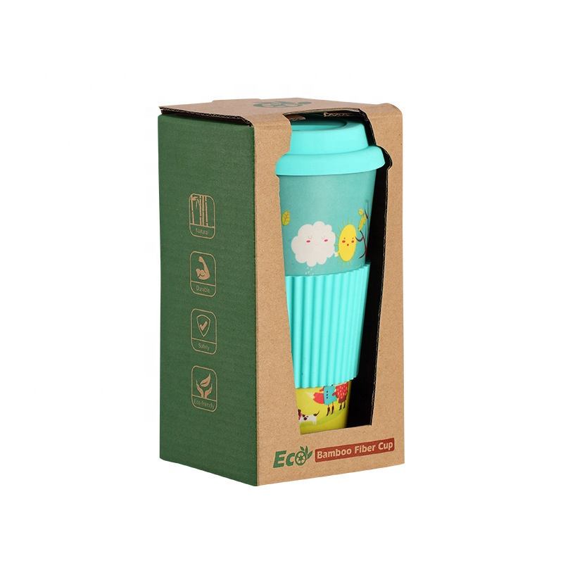 Low price for Bamboo Fiber Cups - Cartoon anti perm anti leak coffee cup with silicone sleeve anti skid biodegradable bamboo fiber mug – Naike