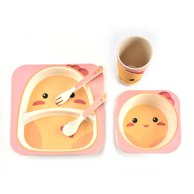 100% Original Wheat Straw Plastic Bowl - Simple cartoon animal tableware set for kindergarten health and safety degradable bamboo fiber meal bowl – Naike