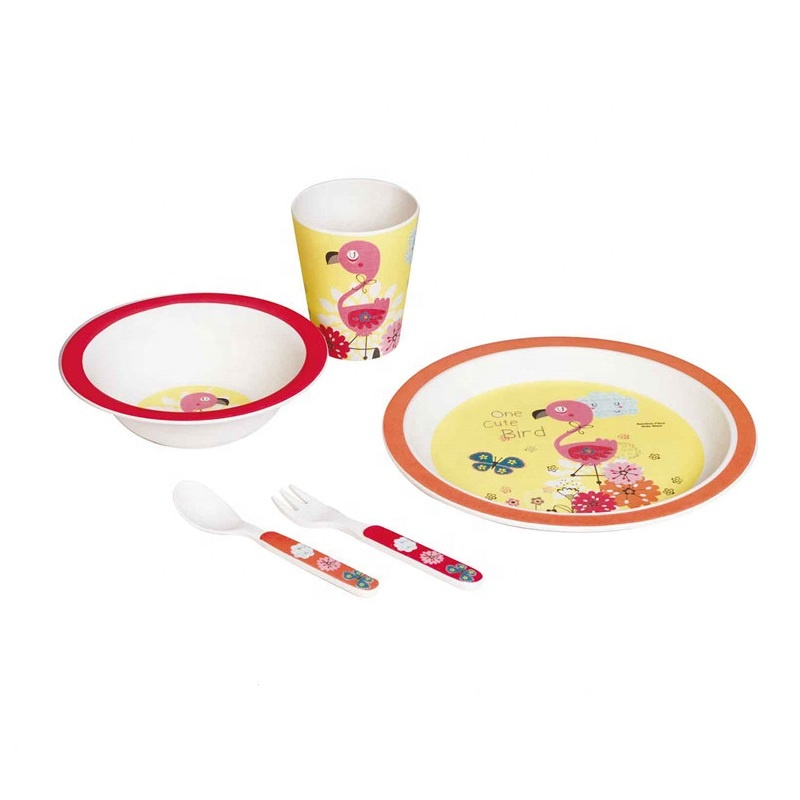 Wholesale Price Wheat Straw Bowl - Anti hot wear resistant household children's tableware set non slip non breaking children's meal bowl – Naike