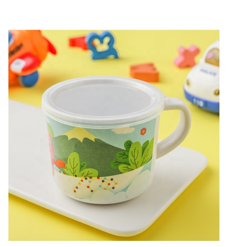 Cartoon green safe and easy to clean children's tableware set creative lightweight bamboo fiber meal bowl
