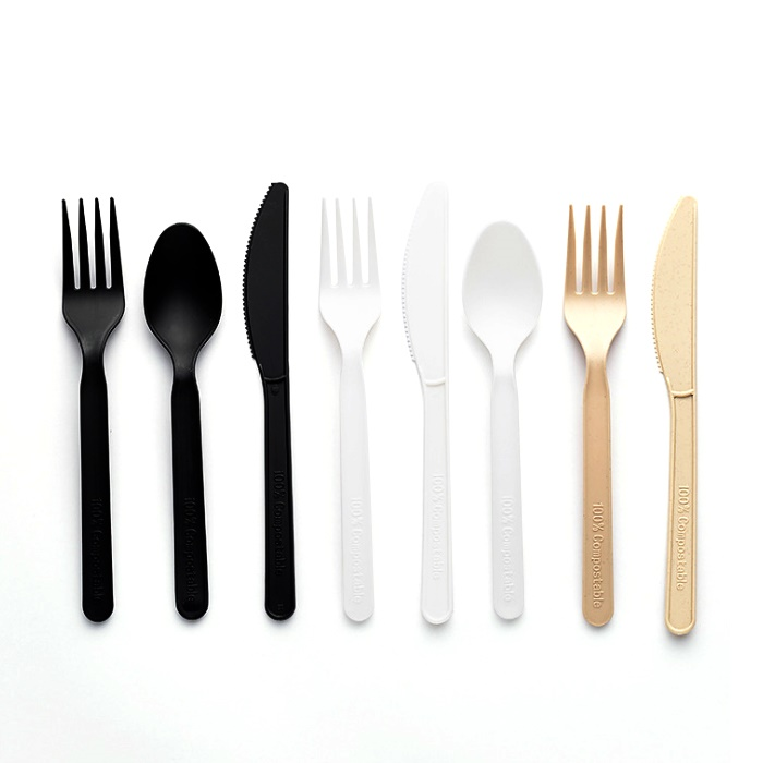 OEM/ODM Factory 3 Sections Plate - Eco friendly disposable compostable plastic fork knife spoon portable PLA cutlery set – Naike