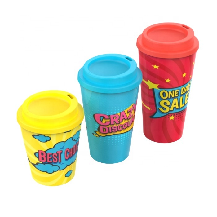 Personalised screw lid insulated biodegradable custom logo silicone sleeves PLA eco coffee cup reusable