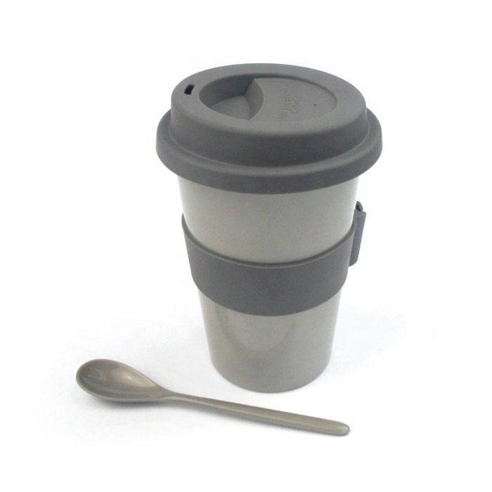 High quality outdoors portable biodegradable reusable pla bamboo fiber coffee mug with spoon