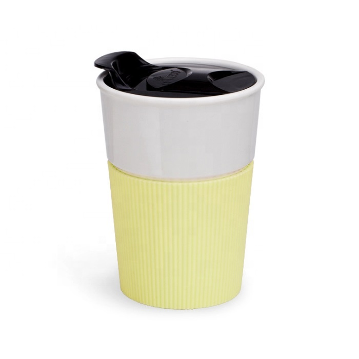 New products outdoor portable biodegradable reusable pla bamboo fiber coffee mug with lid