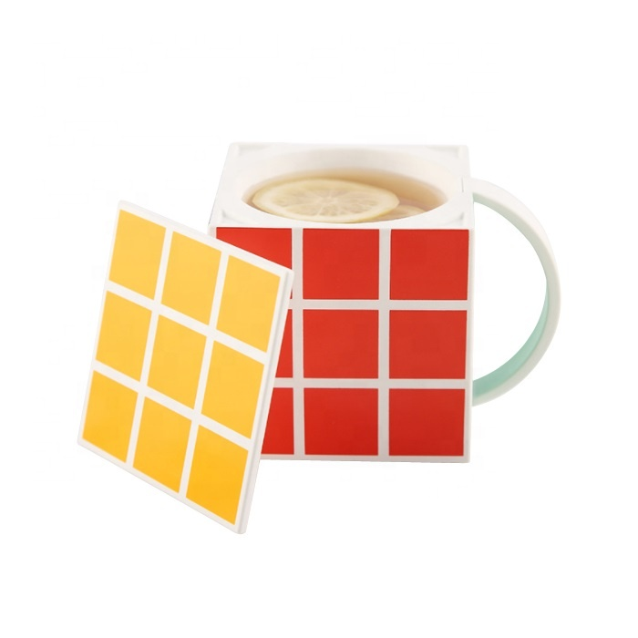 Creative gifts custom logo PLA mug 3D rubik's cube coffee cup with lid for travel
