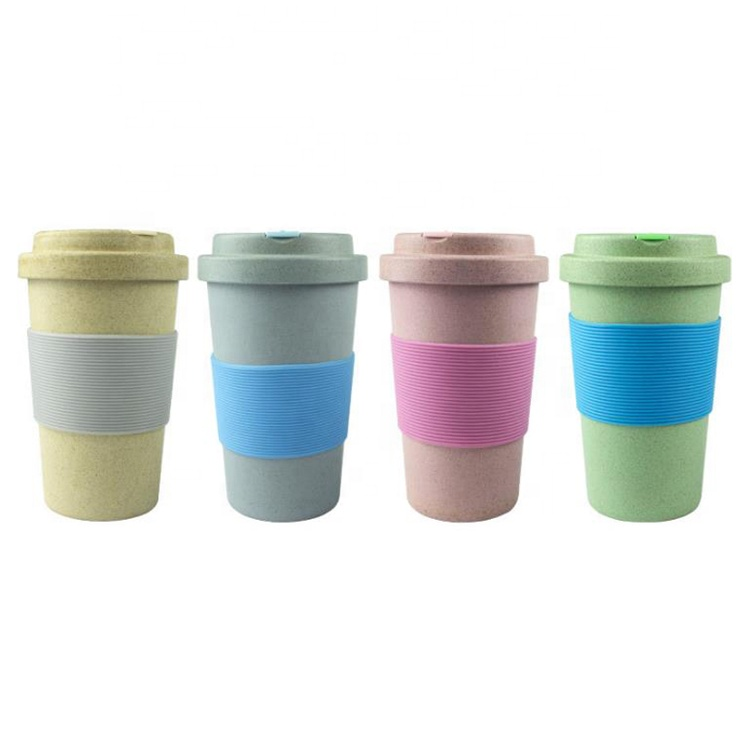 High definition Tea Cup - Wholesale custom eco friendly reusable biodegradable plastics wheat straw coffee cups with lid for travel – Naike