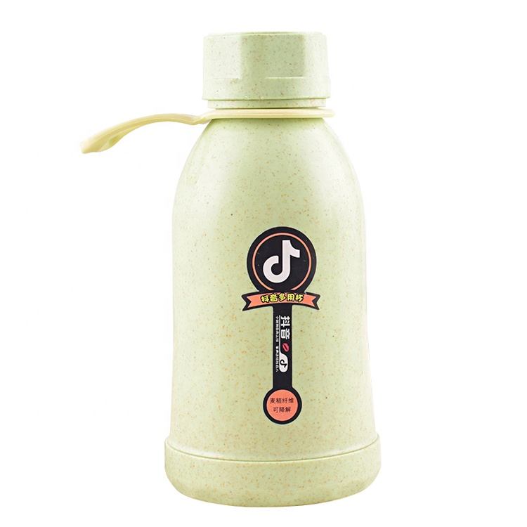 2020 Good Quality Drink Water Bottle – Custom natural eco-friendly reusable biodegradable plastic wheat straw fiber water bottle with glass liner – Naike
