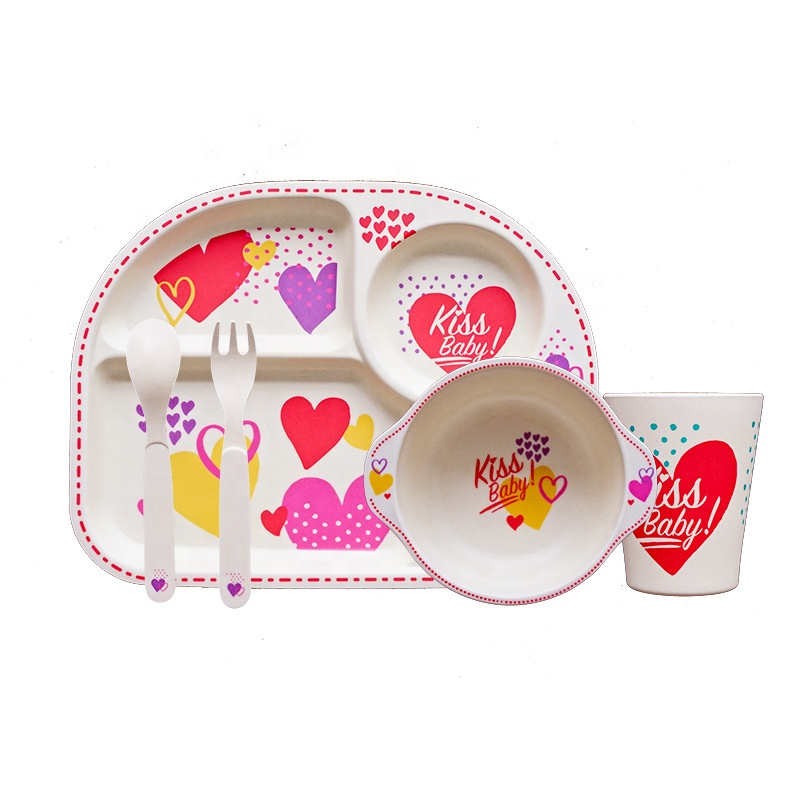 Creative practical anti ironing baby tableware set fashion resistant to falling bamboo fiber children's dinner plate