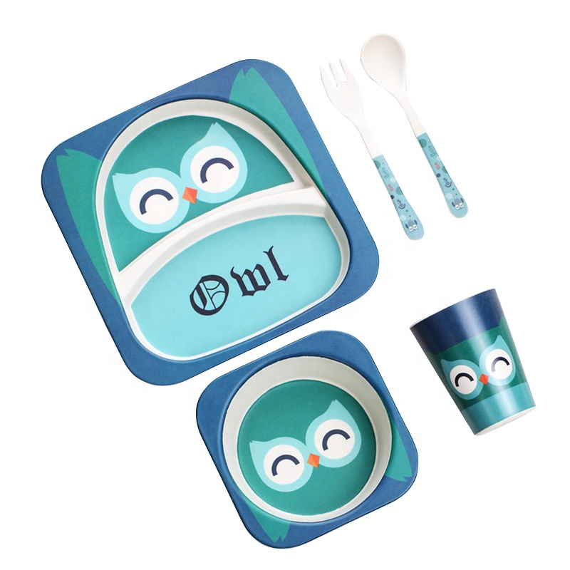 Cartoon cute split children's tableware set of five health and safety degradable bamboo fiber baby tray