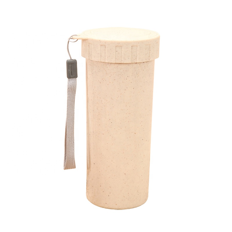 Creative custom environmentally friendly biodegradable reusable wheat straw fiber water bottle cup