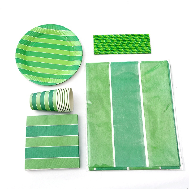 Custom biodegradable disposable eco friendly waterproof paper table cloth green paper cup set for outdoor