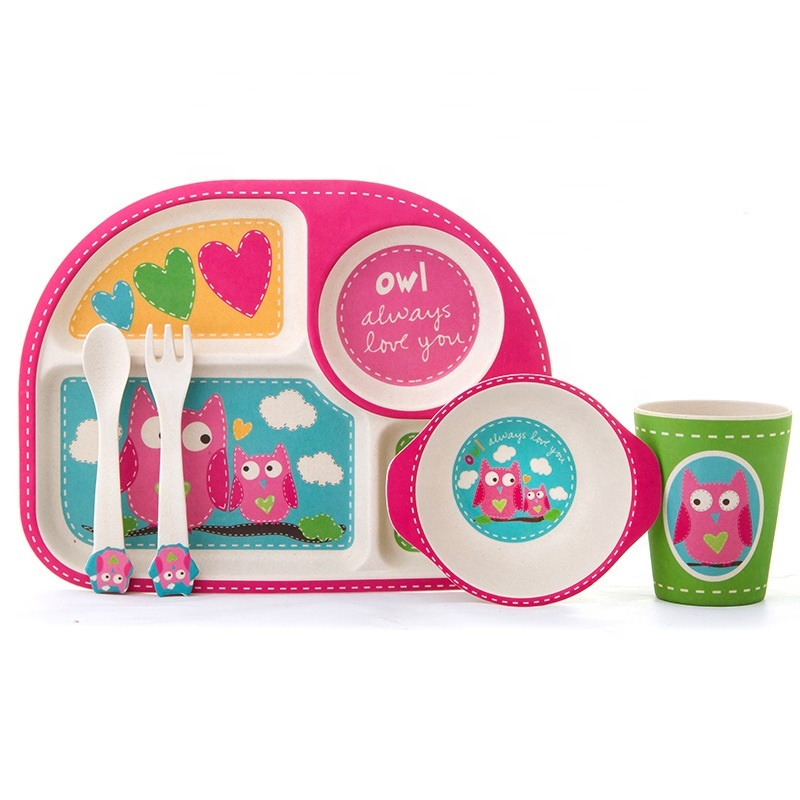 Creative easy to clean children's tableware set Owl tableware resistant to falling and hot bamboo fiber baby tray