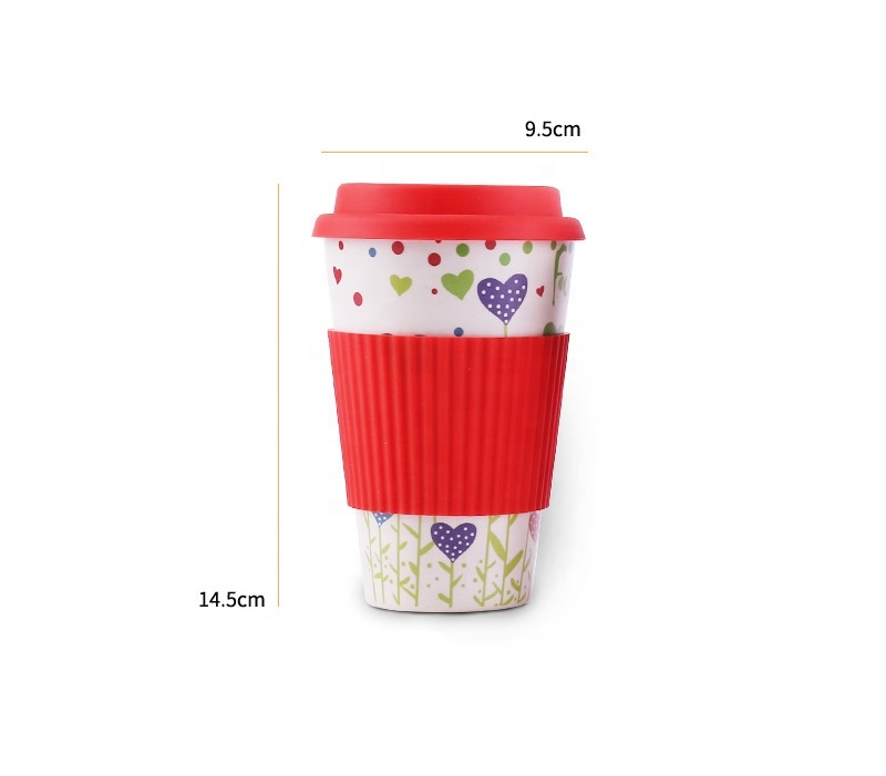High quality anti wear bamboo fiber coffee cup cartoon safety anti hot environmental protection mug