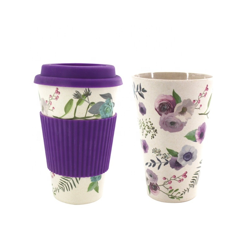 With silicone cover anti perm portable coffee cup cartoon cute environmental protection mug gift box