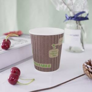 8oz 10oz 12oz biodegradable disposable PLA printed design compostable paper cup with logo and Lids