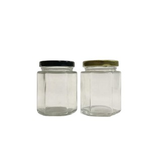 1.5oz 45ml Mini Hexagonal Clear Glass Jar for Honey, Jam, Decoration