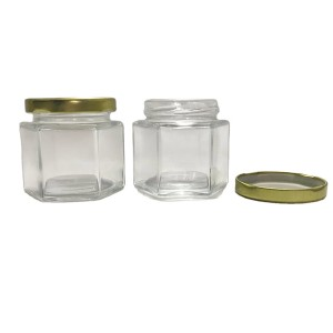 4oz 120ml Hexagonal Clear Glass Jar with gold metal lid