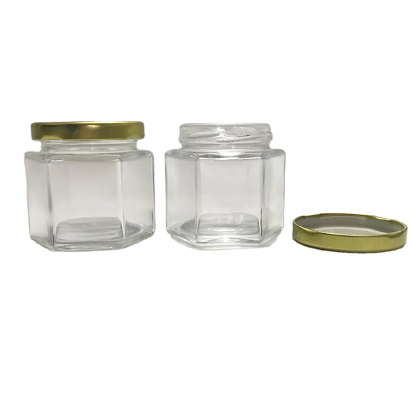 4oz 120ml Hexagonal Clear Glass Jar with gold metal lid Featured Image