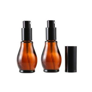 Empty Refillable Cucurbit Shaped Amber Glass Lotion Pump Bottles With Black Dispenser Head and Cap