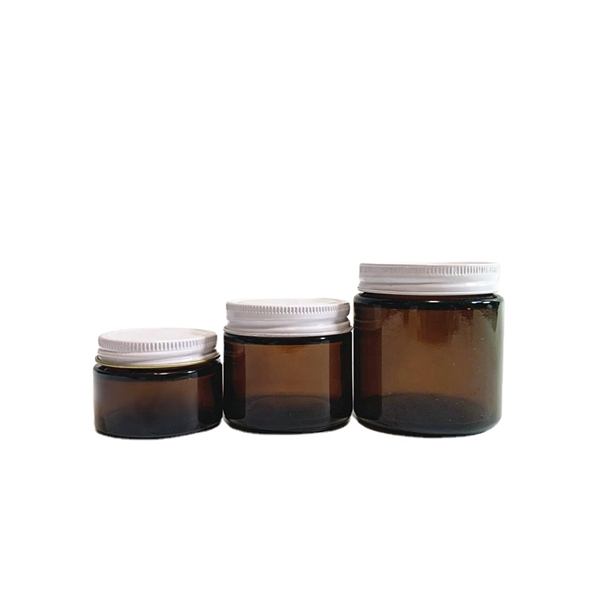 30ml 60ml 120ml straight sided amber glass face cream jar with white metal lid Featured Image