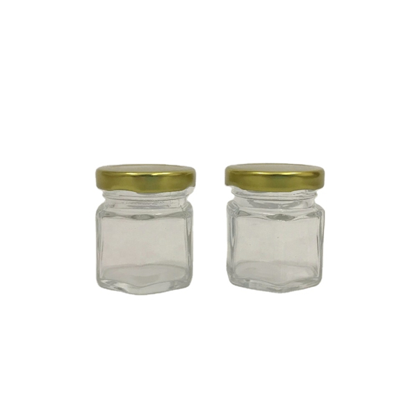 1.5oz 45ml Mini Hexagonal Clear Glass Jar for Honey, Jam, Decoration Featured Image
