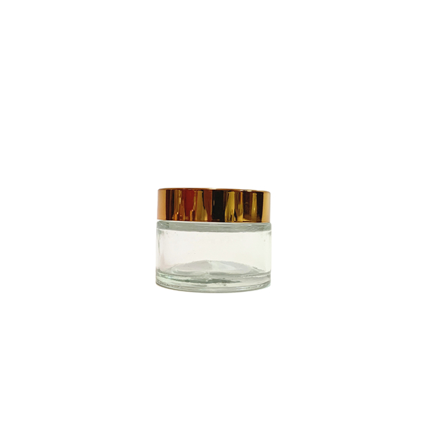100ml clear glass cosmetic cream container with gold metal lid Featured Image