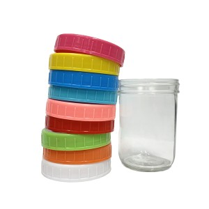 16oz 500ml wide mouth glass mason jar with colored plastic lid