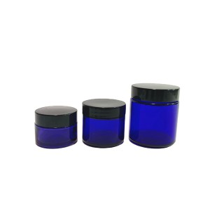 1oz 2oz 4oz cobalt blue glass cosmetic cream jar with black plastic lid