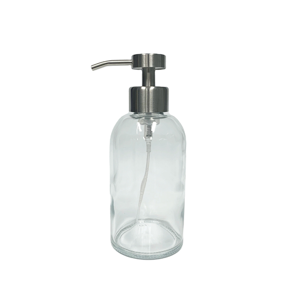 400ml glass hand soap bottle with stainless steel foaming pump dispenser and silicone sleeve Featured Image