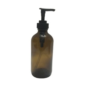 8oz amber boston round glass dish soap bottle with plastic dispenser pump