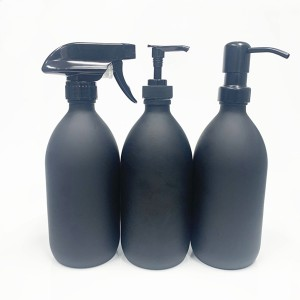 8oz 16oz matte black liquid soap dispenser glass bottle