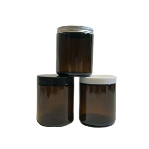 8oz 240ml straight sided glass candle jar with black plastic cap