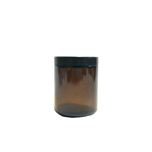8oz 240ml straight sided glass candle jar with black plastic cap Featured Image