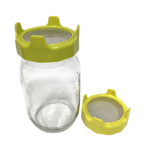 Sprouting Jar Kit Seed Sprouter Set Includes Wide Mouth Mason Jar, 304 Stainless Steel Mesh Lid, Neoprene Sleeve and Plastic Drip Tray for Making Seeds Sprouts