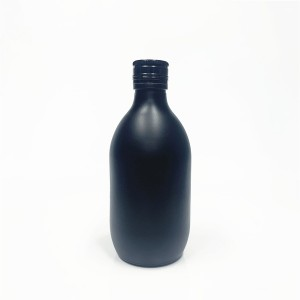 250ml matte black glass juice beverage bottle with aluminum lid