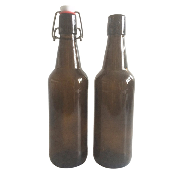 500ml amber glass beer bottle with swing flip top Featured Image