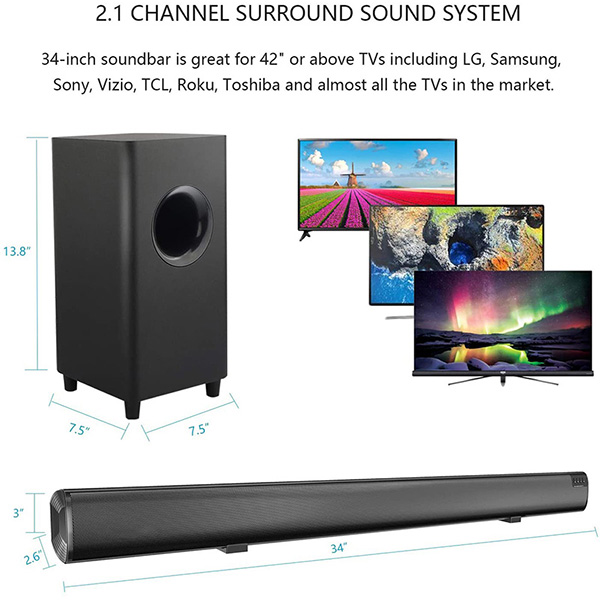 2020 High quality Karaoke Soundbar - Top selling Sound Bar EYIN 2.1 Channel Bluetooth Soundbar for TV with Subwoofer Home Theater System 34-inch Soundbar 5.5-inch Subwoofer 4 Speakers 120W 95dB Remote Control 2020 Model(SP-607 with subwoofer) –  Eyin