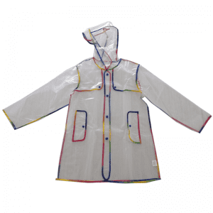 China Wholesale Transparent Eva Raincoat Factory - Transparent EVA material with piping colorful raincoat for children  – Forever Bright