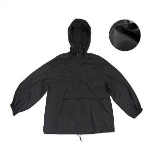 China direct manufacturer light weight 100% waterproof crepe pullover jacket