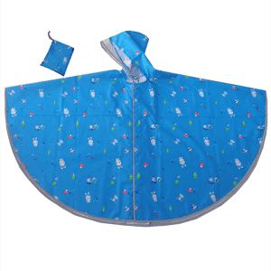 Blue color kids rain poncho with reflective piping for sale