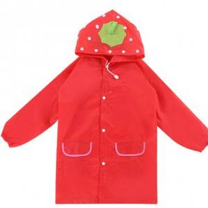 Colorful cute cartoon model polyester coated PU Raincoat for Children