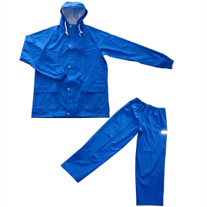 OEM Soft shell PU/polyester material rain suit with reflective strip on trousers