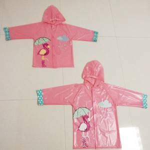 Popular cute PVC raincoat with customized color changing print for children
