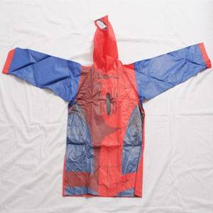 Cute carton printing PVC material pullover raincoat for kids