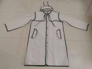 Factory directly sale semi-transparent high quality EVA raincoat with piping