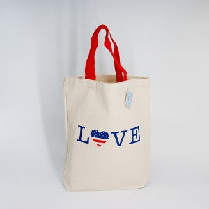 Reusable customized printed logo shopping cotton tote bag with logo