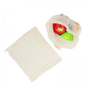 HOT SALE natural cotton mesh bag vegetable fruit drawstring bags produce bag