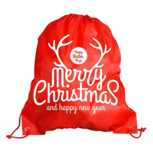 Cheap cute nonwoven christmas drawstring bag for gift