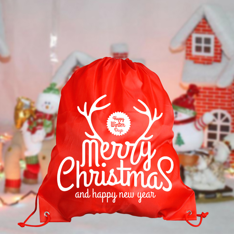 Cheap cute nonwoven christmas drawstring bag for gift Featured Image
